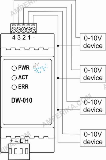 DW-010 4-канальный выход 0-10V